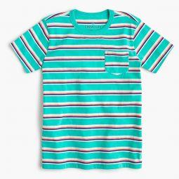 Kids pocket T-shirt in aqua stripe
