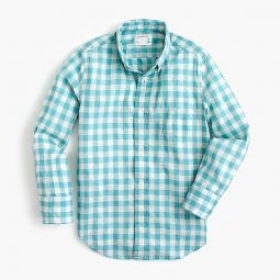 Kids button-down in neon gingham