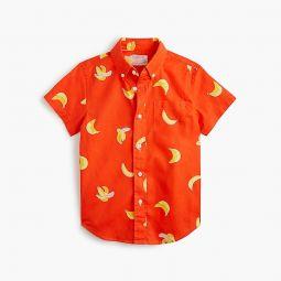 Kids short-sleeve stretch poplin button-down in bananas
