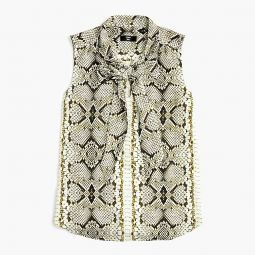 Drapey Tie-neck Sleeveless Top In Snakeskin Print