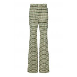 High-Rise Slim Flare Check Trousers