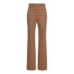 Printed High-Rise Slim Flare Trousers