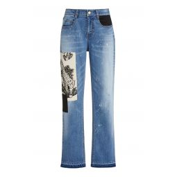 Mcaulay Tiger-Patch Distressed Straight-Leg Jeans