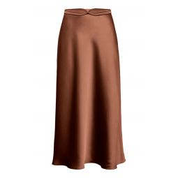 Dido Belted Satin Midi Skirt