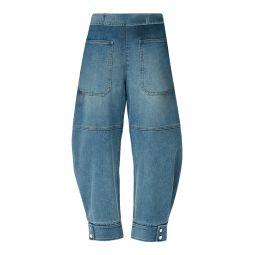Sculpted Mid-Rise Tapered-Leg Denim Pants