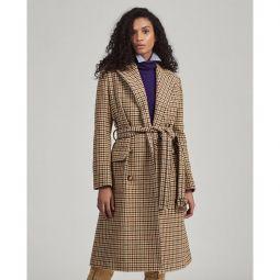 Wool-Blend Houndstooth Coat