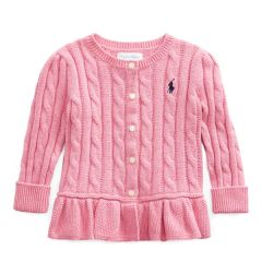Peplum Cable Cotton Cardigan