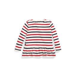 Striped Jersey Peplum Top