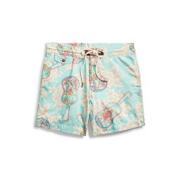 Tropical-Print Twill Short
