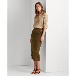 Buckled Jersey Wrap Skirt