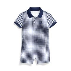 Kids Gingham Cotton Polo Shortall