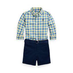 Plaid Shirt, Belt  Short Set