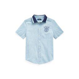 Polo-Collar Chambray Shirt