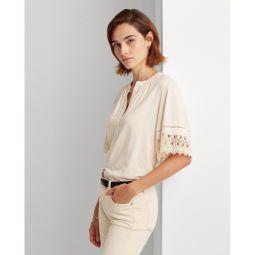 Lace-Trim Cotton Jersey Top