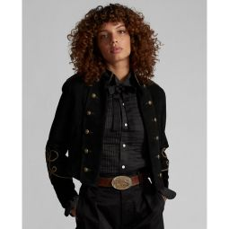 Soutache-Trim Cropped Suede Jacket