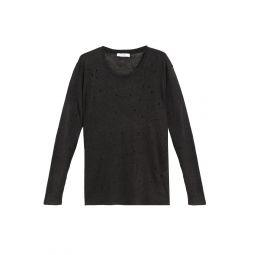 Dark gray Distressed slub linen-jersey top