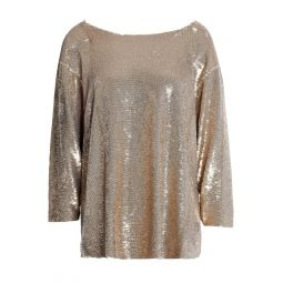 Gold Alya sequined tulle top