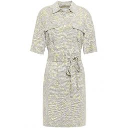 Mushroom Axelle belted printed crepe dress