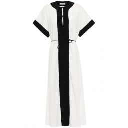 White Claudine belted two-tone crepe midi dress