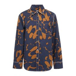 Midnight blue Printed cotton-poplin shirt