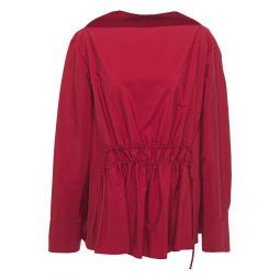 Claret Gathered cotton-poplin blouse