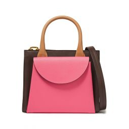 Pink Law color-block textured and pebbled-leather shoulder bag