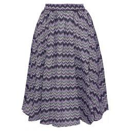 Purple Pleated crochet-knit skirt