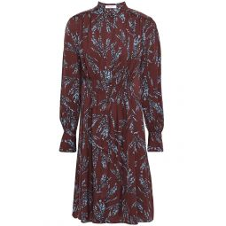Burgundy Ouesse pintucked floral-print satin-jacquard dress