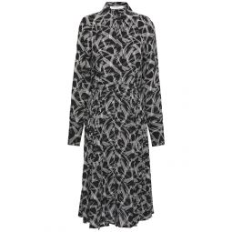 Black Julee pleated printed silk crepe de chine shirt dress