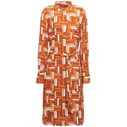 Orange Roseabelle belted printed washed-crepe shirt dress