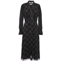 Black Calanne tie-neck checked silk-chiffon midi dress