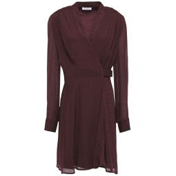 Merlot Allaire shirred fil coupe silk-blend chiffon mini wrap dress