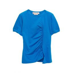 Cobalt blue Ruched slub cotton-jersey T-shirt