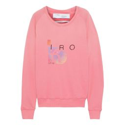 Pink Advent printed French cotton and modal-blend terry sweatshirt