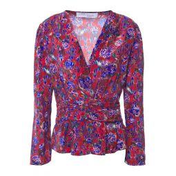 Claret Hurl floral-print silk crepe de chine top