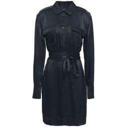 Midnight blue Axelle belted satin-twill mini shirt dress