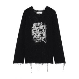 Black Talat distressed printed open-knit cotton-blend top