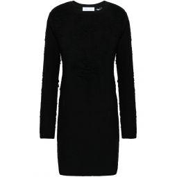 Black Cevoc distressed French cotton-blend terry mini dress
