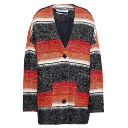 Orange Striped cotton-blend boucle-tweed coat