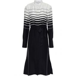 Black Roseabelle belted striped washed silk-blend dress