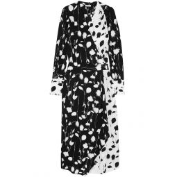 Black Neema wrap-effect printed crepe de chine midi dress