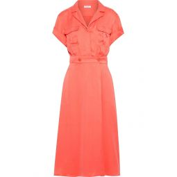 Coral Orlenna washed silk-blend midi shirt dress