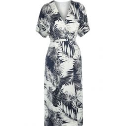Storm blue Tavine printed washed-silk midi wrap dress