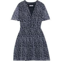 Midnight blue Lisle pleated floral-print silk-chiffon mini dress