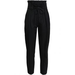 Black Lamezeta cropped belted cady tapered pants