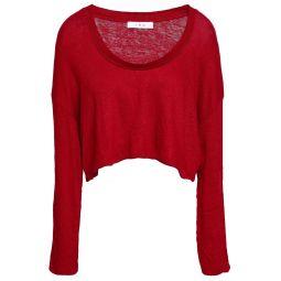 Crimson Cropped lace-up slub linen-jersey top