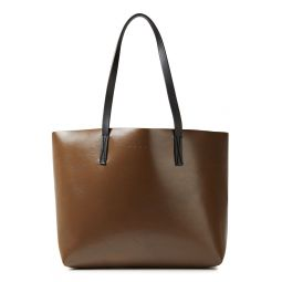 Chocolate Two-tone faux leather tote
