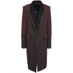 Merlot Blocked Arostide felt-paneled houndstooth wool-blend coat