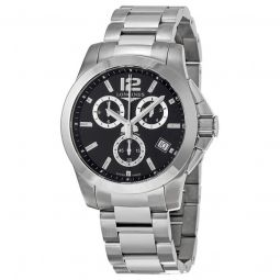 Men's Conquest Chronograph Stainless Steel Black Dial Watch