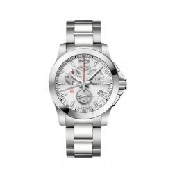 Men's Conquest Chronograph Stainless Steel Silver Dial Watch